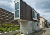 vista exterior casa triangular tokio