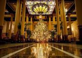 vestíbulo brilla miles luces navideñas